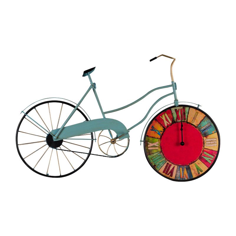 莎芮 田园复古铁艺自行车壁挂时钟酒吧咖啡厅墙饰壁挂家居钟表装饰图片