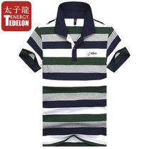 太子龙纯棉翻领男士长袖T恤男式半袖紧身汗衫打底衫男运动修身夏装 抢 J11770短袖(TZLJ11770绿色短袖 4XL)