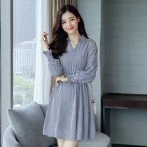 莉菲姿 秋季新款韩版时尚修身V领条纹连衣裙女(图色 XL)