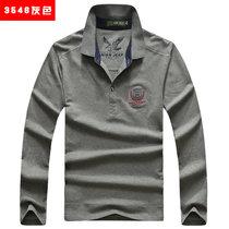 吉普盾 秋冬新款棉翻领长袖T恤打底衫3546(灰色 4XL)