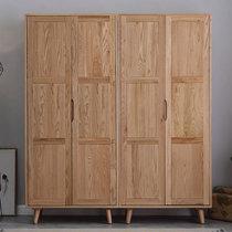 吉木多 北歐白橡木全實木衣柜簡約現代大衣櫥臥室家具儲物柜(原木色 B款兩門衣柜)