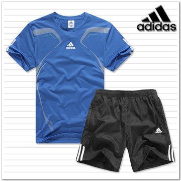 adidas阿迪达斯三叶草运动服男夏天速干短袖t恤男短裤运动套装 蓝色 l
