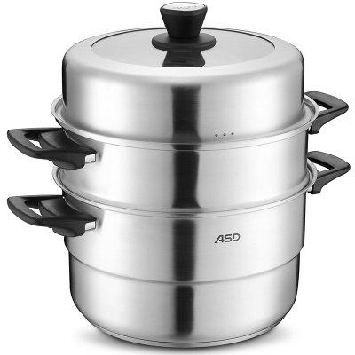 爱仕达蒸锅ASD 34CM复合底304不锈钢蒸锅三层蒸锅锅具QN1534 带蒸笼蒸屉