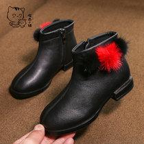 儿童靴子2018冬季新款韩版加绒雪地靴女童百搭宝宝舒适保暖棉鞋潮(33 棕色)