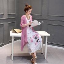 邑概念 夏季新款棉麻连衣裙女文艺范休闲两件套中长款亚麻套装裙1602(紫粉色 XXL)