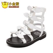 小金蛋童鞋儿童凉鞋女孩罗马鞋子2019夏季新款软底女中大童公主鞋(30 白)