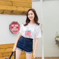 2017夏季新款韓版彈力彩帶翻邊牛仔短褲女三色可選寬松闊腿熱褲(黑色 32)