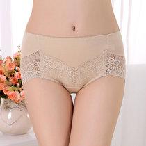 蕾丝玫瑰女士内裤竹纤维性感中腰无痕女式内裤(肉色 M1.9-2.5尺)