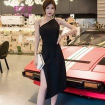 莉菲姿斜肩露背小礼服开叉性感小黑裙年会宴会中长款晚礼服连衣裙(黑色)