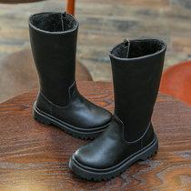 2018冬季新款女童长靴子过膝靴高筒靴冬靴长筒棉靴棉鞋女孩可爱靴子包?#24066;?#21697;上新(37 黑)