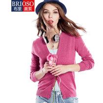BRIOSO    2015新款女式纯色开衫针织衫     女针织衫(FB15KS09 XL)