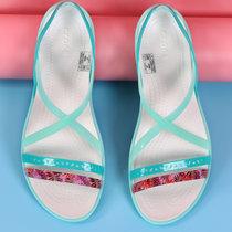 Crocs卡骆驰女鞋 伊莎贝拉话会束带平底鞋运动沙滩鞋凉鞋|204912(天堂粉/豆灰 39)