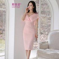 莉菲姿 2019夏新款韩版优雅时尚气质显瘦包臀中长款连衣裙女裙子(粉红色)