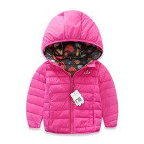 童装女童2016新款冬装儿童加厚棉衣外套女宝宝两面穿棉袄棉服夹克(玫红色 100cm 4T)