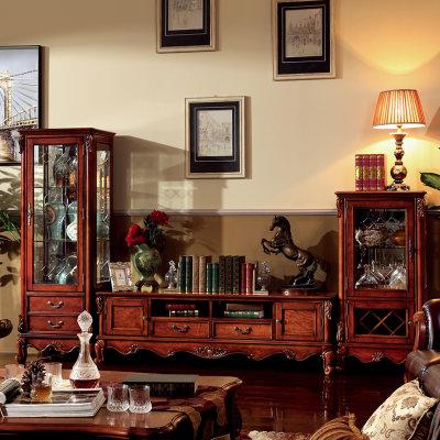 电视柜 实木欧式古典玻璃门美式酒柜高柜矮柜电视柜组合j601-17 电视