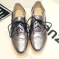 2017秋冬雕花系带松糕厚底坡跟中跟厚底方头女士深口单鞋布洛克鞋(39)(黑色)