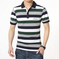 夏季T恤男短袖翻领纯棉大码条纹POLO保罗衫男装休闲修身半袖潮Q319(Q319绿色)
