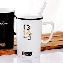 陶瓷水杯創意女生水杯 陶瓷杯帶蓋帶勺配一對 情侶杯子 陶瓷馬克杯咖啡杯茶杯(1314白色)