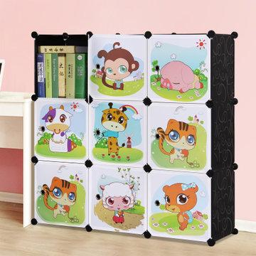 索尔诺 卡通书柜儿童书架自由组合玩具收纳柜简易储物置物架柜子(a630