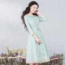 烟花烫SD2017秋新款女装纯色七分袖蕾丝花边风衣外套 清品(豆绿色 XXXL)