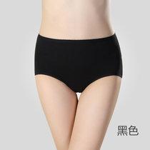 【浪莎】內褲 性感內褲 女士彈力棉中腰三角褲 內褲女性感短褲(黑色)