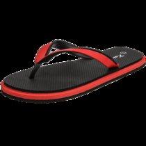 羊骑士男士拖鞋人字拖厚底男凉鞋2018新款个性防滑沙滩鞋(QM-701黑红色 42)