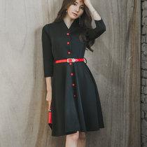 Mistletoe秋季新品气?#24066;?#36523;女装通勒OL排扣连衣裙(黑色 XL)