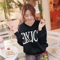 莉菲姿  冬季韩版时尚宽松无帽加绒加厚卫衣女学生印花套头衫上衣女(黑色 XL)
