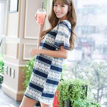 Mistletoe2017春夏新款韩版休闲镂空钩花宽松大碼女裝蕾丝连衣裙 F6835(蓝色 XL)