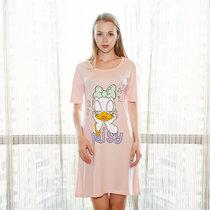 迪士尼 米奇系列 纯棉半身裙 卡通印花 女士睡衣 时尚舒适简约 圆领透气 D17SW041(西瓜粉 均码)