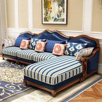 忆斧至家 美式沙发全实木客厅皮沙发欧式组合转角大小户型整装家具(定制颜色预付定金 单人+双人+贵妃位)