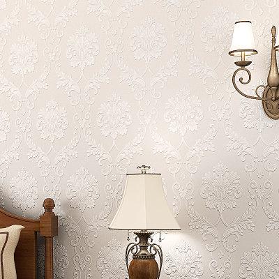 睐可欧式浮雕3d植绒立体墙纸 无纺布壁纸 客厅卧室餐厅大马士革 经典