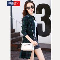 Brioso布里奥索女士 新款春装格纹连衣裙衬衫 女中长款连衣裙(B142510032)
