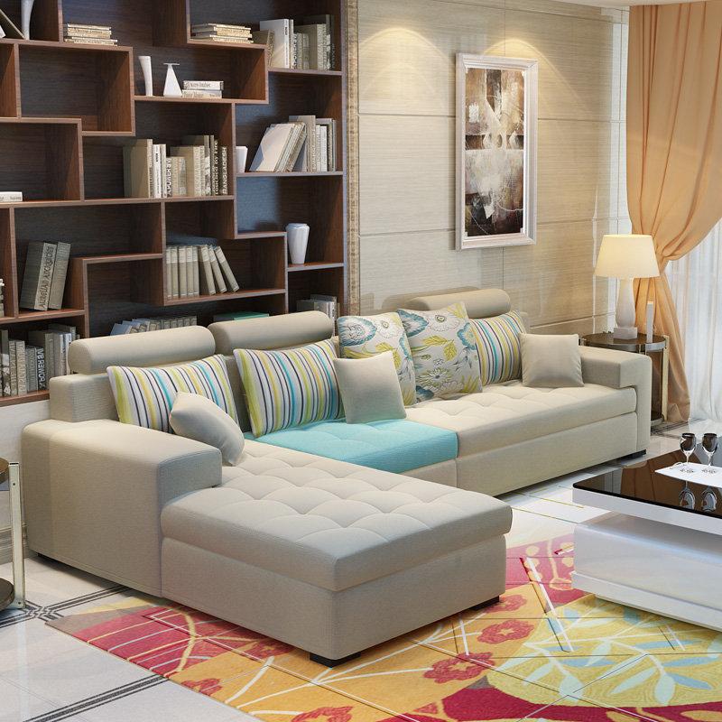 择木宜居 布艺沙发组合客厅转角大小户型布艺沙发 简约现代沙发(浅蓝