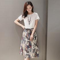 2018夏季新款薄款半身裙+短袖两件套(白上衣+花色裙子)(XXXL)