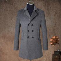 秋冬男士毛呢大衣男加厚青年修身版中长款羊毛呢大衣8505(黑色 XXXL/190)