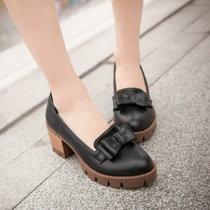 羽陌伦诗春夏韩版新款复古单鞋粗跟布洛克鞋松糕鞋纯色圆头蝴蝶结女鞋H076(黑色 37)