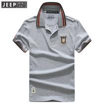 JEEP吉普短袖T恤男2018年夏装新款男装POLO衫男士纯棉翻领半袖t恤衫(FH-CXH74Z短T灰色 M)