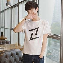 卡郎琪 男士2018年夏季新款短袖t恤 舒适棉圆领修身半袖衣服韩版潮流几何?#21450;?#22823;码体恤男装上衣(KLQKX-C23白色 L)