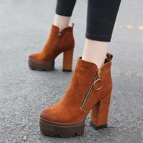 短靴高跟粗跟马丁靴2017秋冬新款防水台侧拉链磨砂女靴及裸靴(39)(焦糖色)