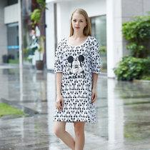 迪士尼 米奇系列 纯棉半身裙 卡通印花 女士睡衣 时尚舒适简约 圆领透气 D17SW035(白色 均码)