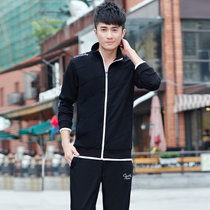 艾酷狼2015春秋季新款休闲套装长袖卫衣运动服运动套装男(黑色 XXL)