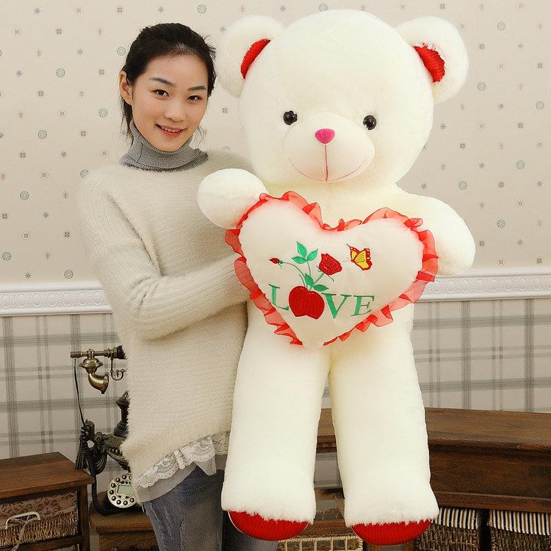 抱心熊公仔泰迪熊抱抱熊毛绒玩具玩具熊生日礼物超大熊布娃娃(红色