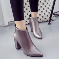 2016秋冬新款短靴女尖头粗跟高跟鞋时?#26032;?#19969;靴侧拉链h176(深灰色 39)