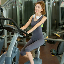 莉菲姿 三件套瑜伽服套装居家俞加珈新款球短袖健身服女跑步服运动短裤(深灰+背心七分裤 XL)