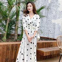莉菲姿 连衣裙女长袖 沙滩裙 2019新品女装显瘦宽松波点泰国海边度假长裙子(白色 XL)