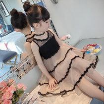童装女童夏装2018新款公主裙子儿童连衣裙夏季蕾丝背心裙洋气纱裙 黑色(150cm)(黑色)