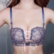 无钢圈性感少女士内衣半杯拉绳蕾丝调整型胸罩无痕厚小胸聚拢文胸(宝蓝色 85C)
