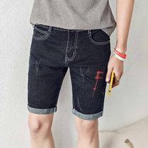 男士彈力牛仔短褲男夏季五分褲 青年中褲5分馬褲夏天(黑色 36)