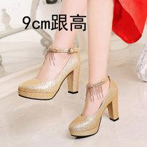 红色新娘鞋高跟女鞋银色婚纱鞋粗跟金色礼服宴会鞋孕妇中式结婚鞋(37)(金色(跟高9cm))